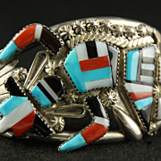 SOLD Beautiful Inlaid Rainbow Dancer Cuff by Zuni Artist Gary Vacit