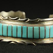 SOLD Sterling and Turquoise Inlay Cuff by Zuni Artist Elkus Gasper
