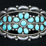 SALE PENDING Zuni Sterling and Turquoise Cuff Bracelet by Fred and Elsie Loncosello