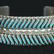 SOLD Zuni Style Sterling Cuff with Needlepoint Turquoise