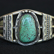SALE PENDING Fabulous Sterling Cuff with Spiderweb Turquoise