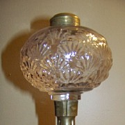 C 1870 Antique Hobbs Brockunier Shell Pattern Oil Lamp