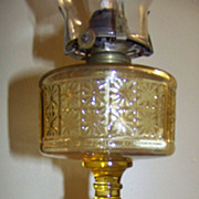 Amber Two Panel Three Panel Oil Kerosene Stand Lamp C 1885