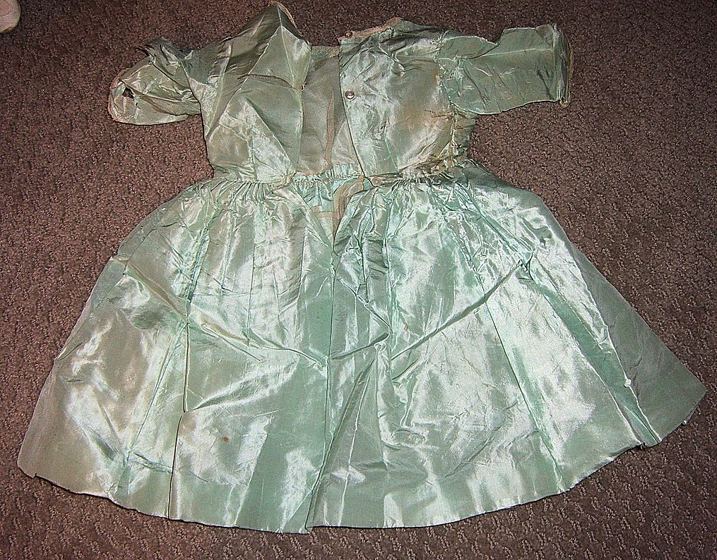 Beautiful Antique Blue Silk Doll Dress 1880's-1890's 22-23&quot; Doll