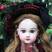 "Darling 19"" EJ Antique Doll w/Courtier Dress - early body - Layaway"
