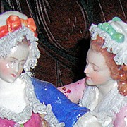 Lovely & Large Dresden Lace Figurine Grouping - Volkstedt