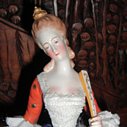 Amazing & Rare 10&quot; Dresden Lace Figurine