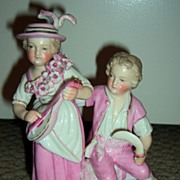 SALE Antique Dresden Figurine: Sitzendorf Children (1850-1899)