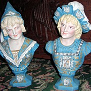Antique Victorian Busts-Renaissance Man & Woman w/Coat of Arms