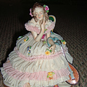 Large German Dresden Lace Figurine With Mandolin (Volkstedt)
