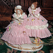 Gorgeous Dresden Lace Figurine of Two Women