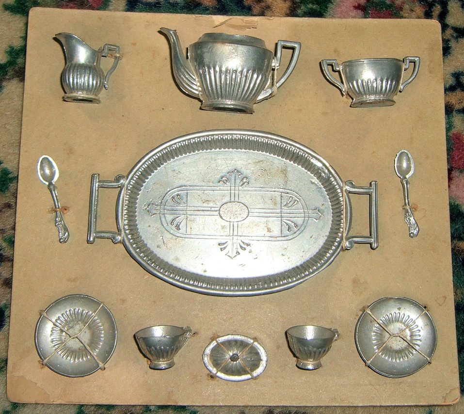 Darling Miniature Antique Pewter Tea Service for Dolls - On original presentation card!