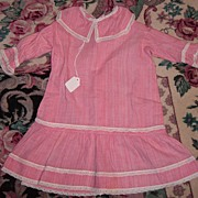 SALE Wonderful Antique Pink Striped Cotton Dress for Large Doll