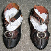 "2 1/2"" Long Bru Lookalike Antique Doll Shoes"