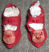 "2 3/4"" Antique Red Silk Doll Shoes with Rosettes"