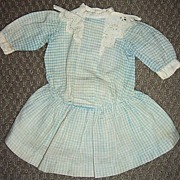 "12"" Long Antique Cotton Doll Dress - Blue & White Checks"