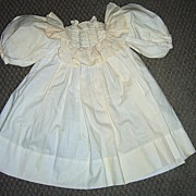 Antique Doll Dress - Cream Cotton with Puffy Sleeves 17 1/4""