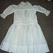 "15"" Long Antique White Cotton Doll Dress"