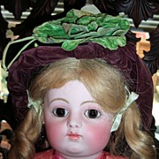 RARE antique burgundy doll hat with green leaf