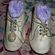 Antique Doll Shoes - French Leather with Ties