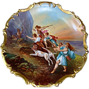 "SALE Astonishing 15 1/2 "" Limoges Porcelain Plaque  ~ Hand Painted Allegorical Scene~ Art"