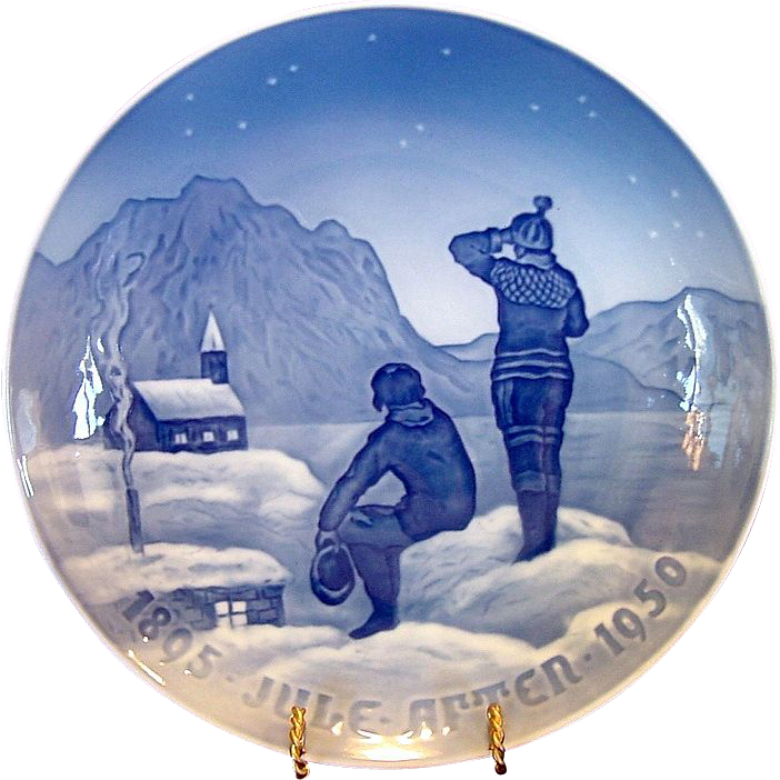 1950 Bing & Grondahl Christmas Jubilee Plate ~ &quot;Eskimos &quot; by Achtin Friis
