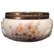 Exquisite Wavecrest Opal Glass Pin Box or Dresser Jar ~ Shell Design ~ Hand Painted with Peach Flowers ~ C F Monroe Co Late 1800�s