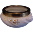 Wonderful Wavecrest Opal Glass Pin Box or Dresser Jar ~ Shell Design ~ Hand Painted with Peach Flowers ~ CF Monroe LATE 1800'S