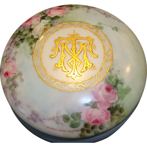 "Beautiful 6"" Limoges Porcelain Dresser / Trinket Box ~ Hand Painted with Pink & White Roses ~ Monogrammed with Gold ~ Limoges France after 1891"