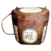 Interesting Chinese Rosewood Two Piece Inro Box with Bone Inlay and Chinese Characters