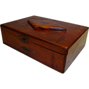 SALE Inlaid Tea  / Cigar Box ~ Wide Awake Tea Co / Fac No. 35 1st dist of PA ~ Early 1900s