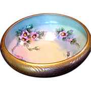 SALE Astonishing 10 1/2'' Porcelain Bowl ~ Rivir Studio ~ Gold Encrusted outside and Hand Pain