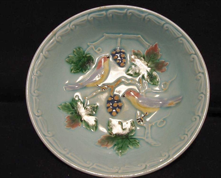 Hard to Find German Majolica 5&quot; Turquoise Berry Bowl   with Birds and Berries 1900's