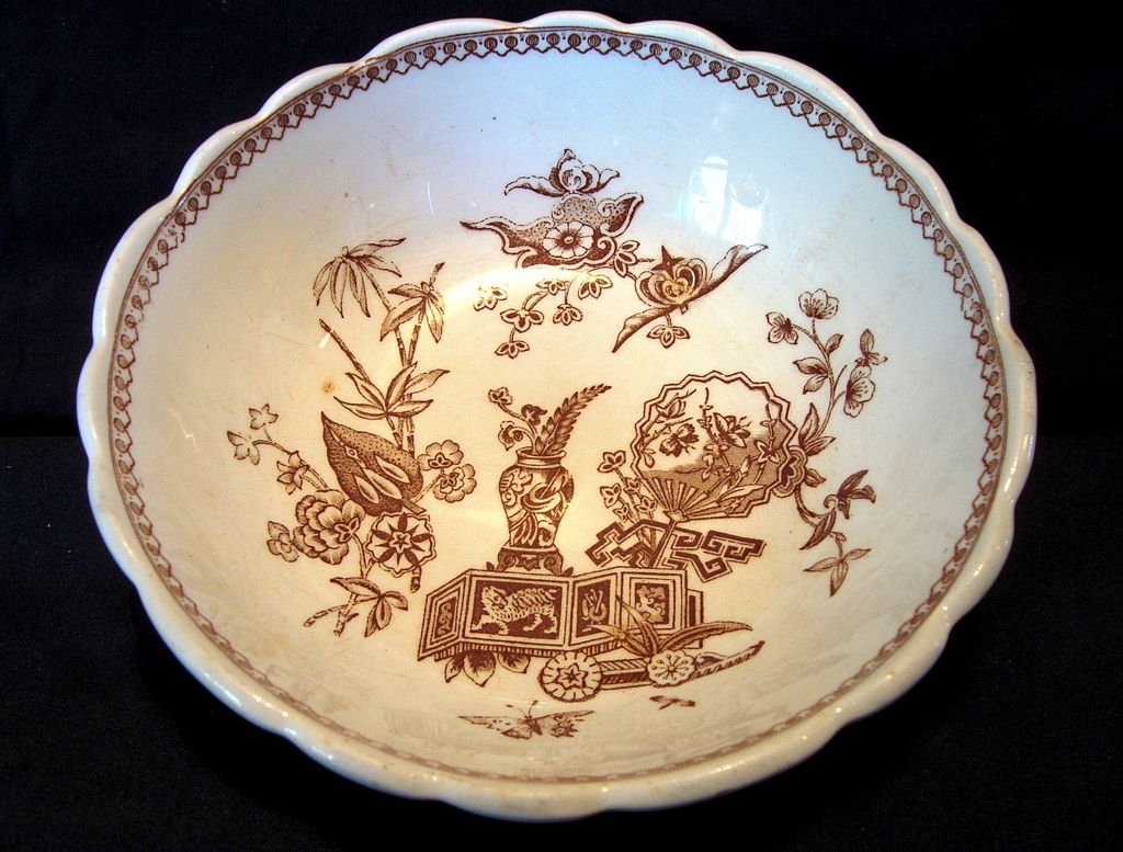 Awesome English Bowl with Oriental Symbols ~ Aesthetic Earthenware Brown Transferware ~ T Elsmore Tunstall England 1878