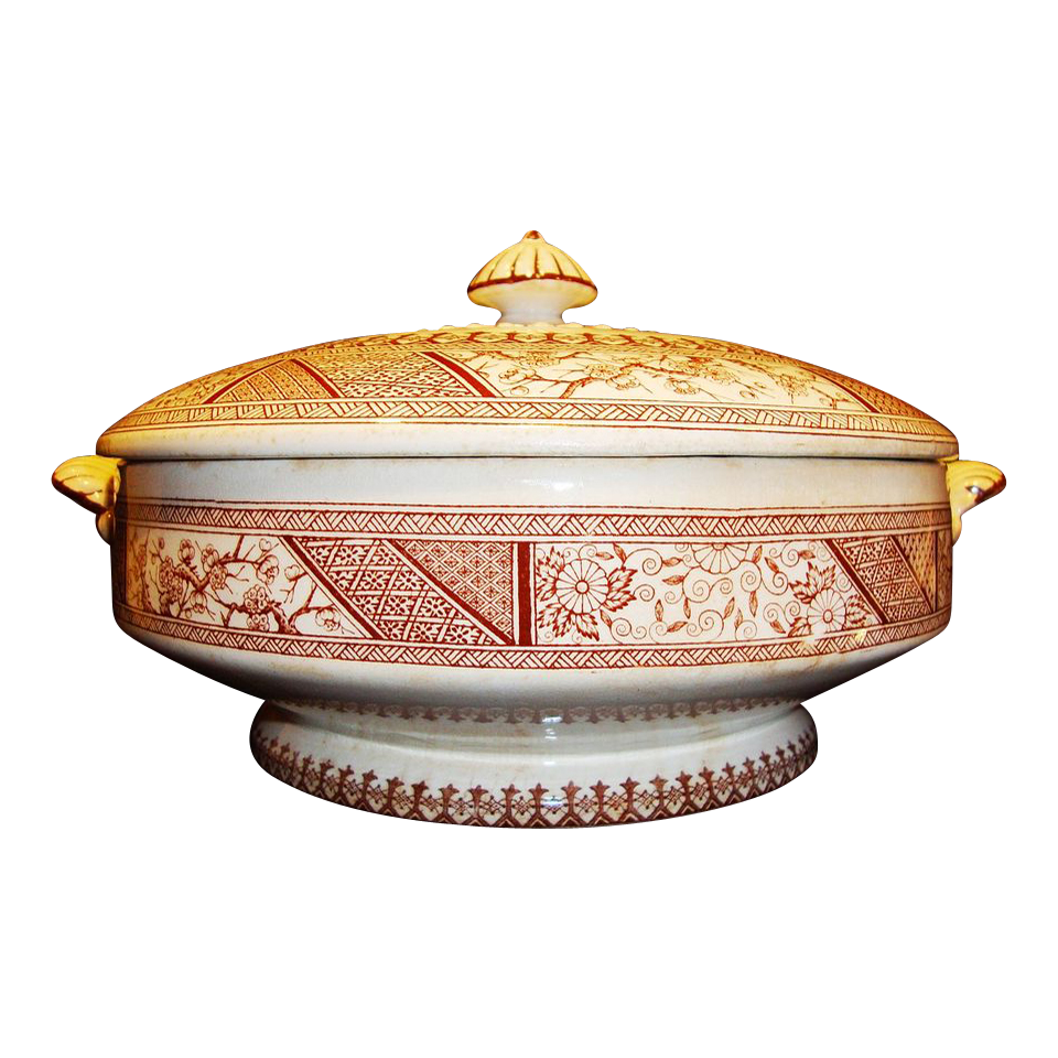 "Beautiful English Aesthetic Covered Dish with Deep Brown Transfers ~ ""Hizen"" Pattern ~ Brownhill Pottery Co Tunstall England  7/5/1882"