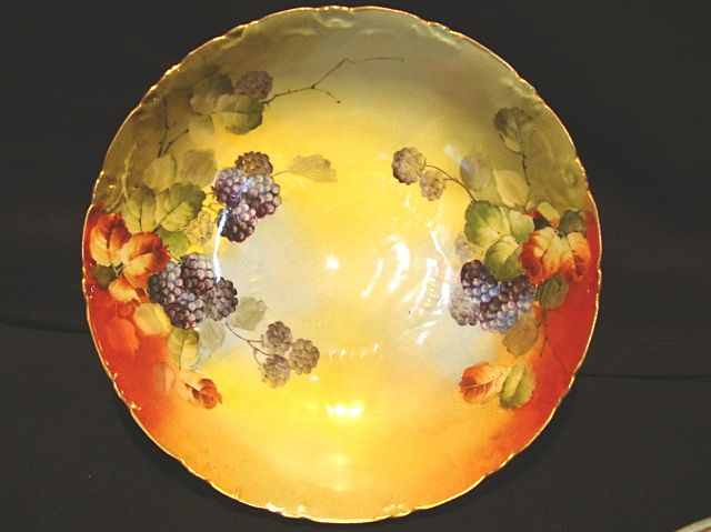 Beautiful Porcelain Bowl ~ Hand Painted with Blackberries by France Studios Chicago IL~ 1906~ 1916