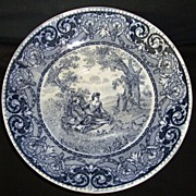 SALE Nice Blue English Earthenware Transferware Bowl or Large Saucer ~ Courtship Scene ~ Rowla