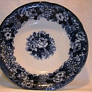 SALE Fantastic English Earthenware ~ Blue & White Serving Bowl with Roses and Florals ~ Wild R