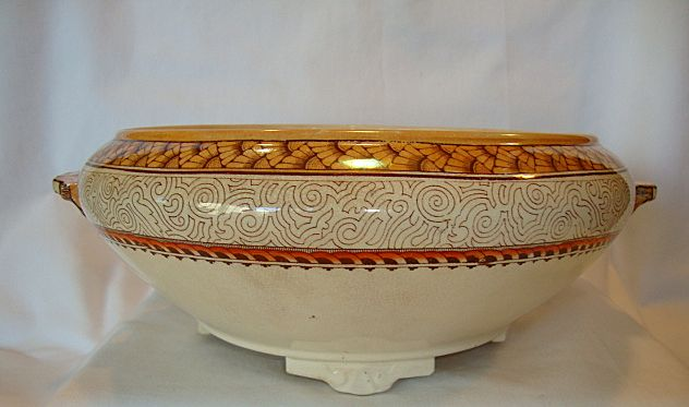 Beautiful Serving Bowl / Tureen ~ Polychrome Peach and Taupe Designs ~ Wisconsin Pattern ~ William Brownfield Staffordshire England 1860+