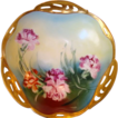 Amazing Bavarian Porcelain Reticulated Bowl ~ Hand Painted with Carnations ~ BRC Racine Bavaria / Pickard Studios Chicago Il 1898-1903