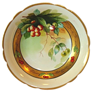 SOLD Awesome Limoges Porcelain Bowl ~ Decorate with Rainier Cherries by Pickard Artist J. Hein