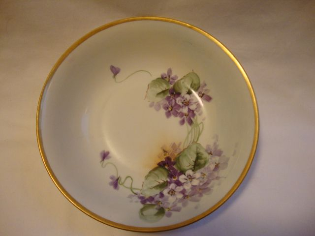 Wonderful German Porcelain Bowl ~ Hand painted with Purple Violets ~ Krister Porcelain Factory Germany 1904-1927