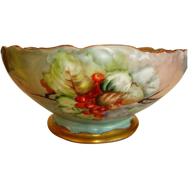 Awesome Master Bowl / Punch Bowl ~ Limoges Porcelain ~ Hand Painted with Currants ~ Signed M. Jones 1919 ~  Tressemann & Vogt ~ Limoges France 1907-1919