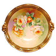 SALE Outstanding Rococo Rimmed ~ Limoges Porcelain Bowl ~ Hand Painted with Orange & White Ros