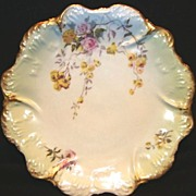 SALE Nice Limoges Porcelain Cabinet Plate ~ Studio Decorated with Yellow & Pink Roses ~ Coiffe
