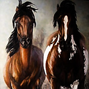 "SALE Original oil painting by Carolyn Mock - titled ""No Fences"",  Oil on canvas 55''"