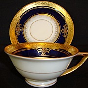 SALE Fantastic  Porcelain Demitasse Cabinet Cup & Saucer ~ Hand Painted Cobalt and Gold Emboss