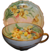 Cheerful Austrian Porcelain Cup and Saucer Set ~ Hand Painted with Yellow Daffodils ~ OEG Oscar & edger Gutherz Austria 1899-1916
