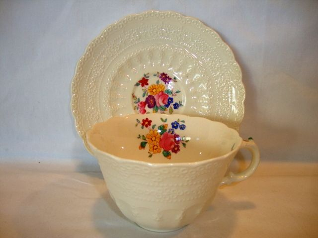 Elegant English Cup and Saucer ~ Raised Relief Designs with Dresden Like Flowers ~ Ann Hathaway Pattern ~ Spode's Jewel ~ Copeland England 1936