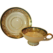 SALE Elegant German Porcelain Demitasse Cup and Saucer Set ~ Gold Lace with Steel Blue Band ~